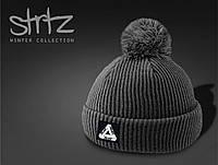 Зимняя молодежная шапка серая с помпоном/бубоном PALACE реплика, фото 1