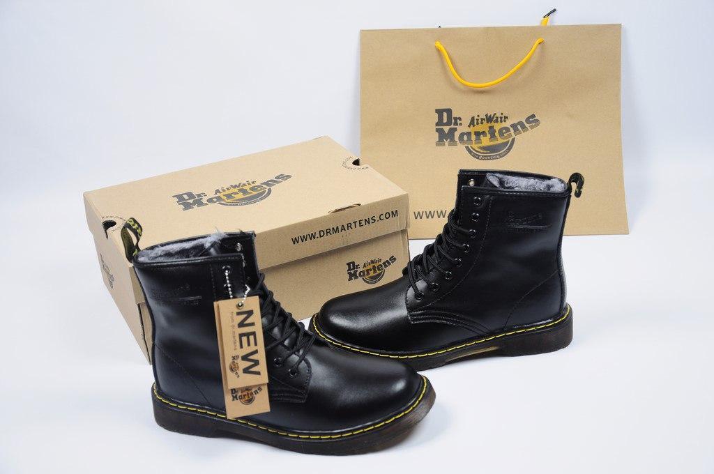 Зимние мужские ботинки Dr. Martens Boots 1460 Black (реплика)