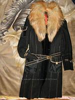 Дубленка натуральная женская с лисьим воротником 44