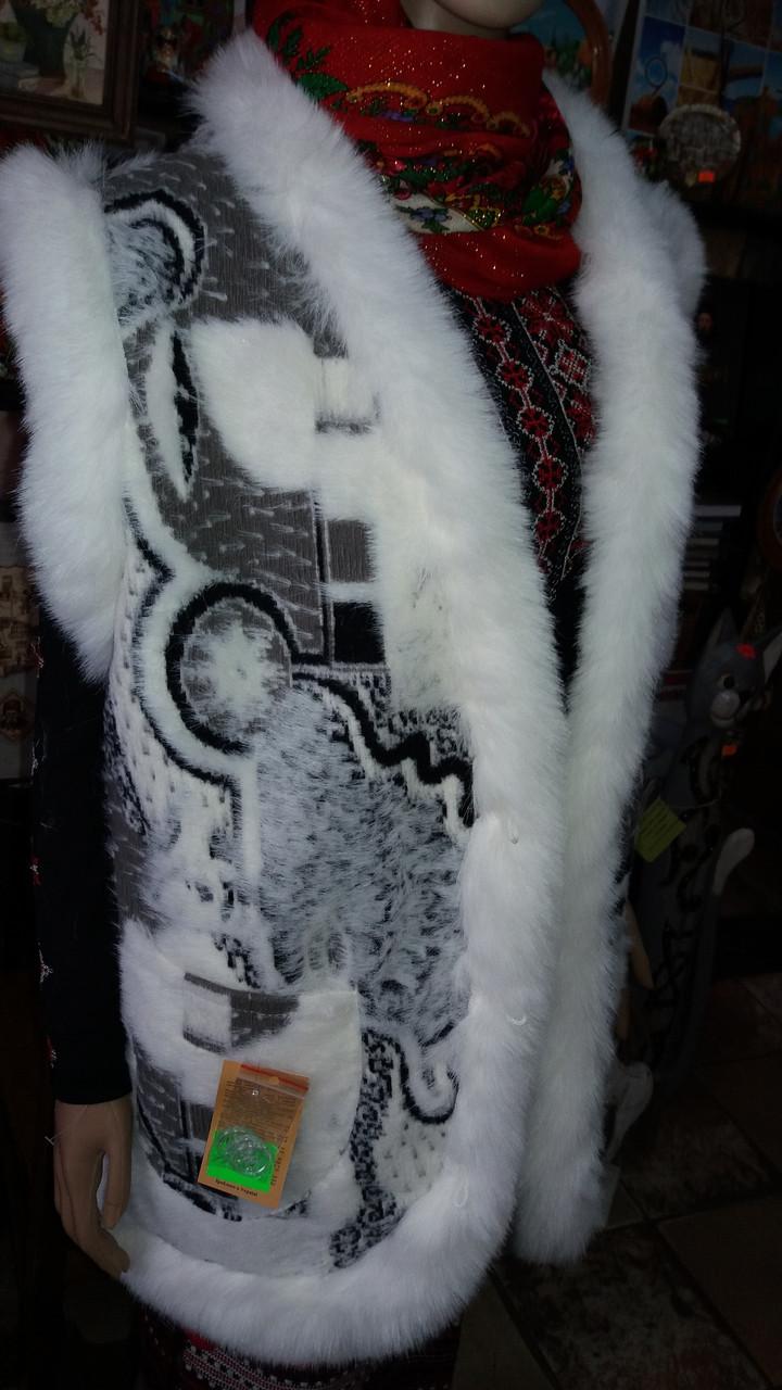 Теплий жилет жіночий із овчини узор Абстракція із білою опушкою 56 розмір