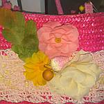 Сумка кружевная соломка летняя малиновая с цветами из содомки на подкладке 39*25 подарки, фото 9