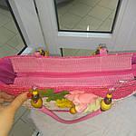 Сумка кружевная соломка летняя малиновая с цветами из содомки на подкладке 39*25 подарки, фото 7