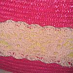 Сумка кружевная соломка летняя малиновая с цветами из содомки на подкладке 39*25 подарки, фото 6