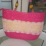 Сумка кружевная соломка летняя малиновая с цветами из содомки на подкладке 39*25 подарки, фото 5