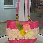Сумка кружевная соломка летняя малиновая с цветами из содомки на подкладке 39*25 подарки, фото 4