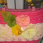 Сумка кружевная соломка летняя малиновая с цветами из содомки на подкладке 39*25 подарки, фото 3