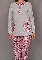 Теплая пижама женская начес зимняя хлопковая кофта с брюками Украина