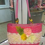Сумка кружевная соломка летняя малиновая с цветами из содомки на подкладке 39*25 подарки, фото 2