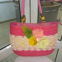 Сумка кружевная соломка летняя малиновая с цветами из содомки на подкладке 39*25 подарки