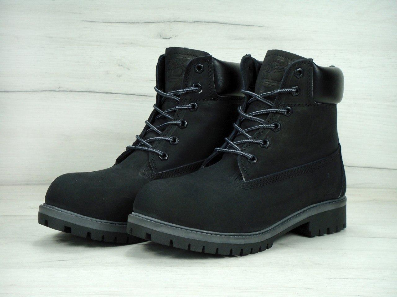 Зимние мужские ботинки Timberland на меху черные топ реплика