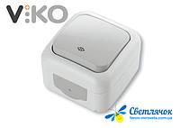 Выключатель одноклавишный проходной наружный VIKO PALMIYE белый/серый
