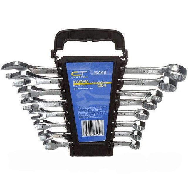 Набор ключей комбинированных 8-19 мм, CrV, 8 шт СибрТех