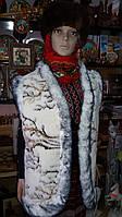 Жіночий теплий жилет із овчини узор Гілка Сакури