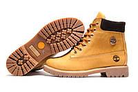 Зимние женские ботинки Timberland 6 inch, песочные, натуральная кожа, р. 36