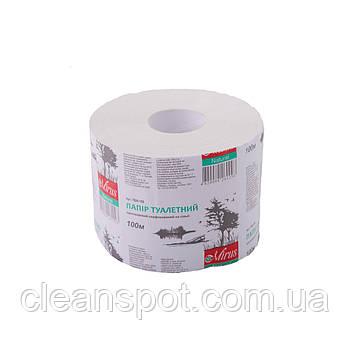 Туалетная бумага белая однослойная джамбо 100м Mirus