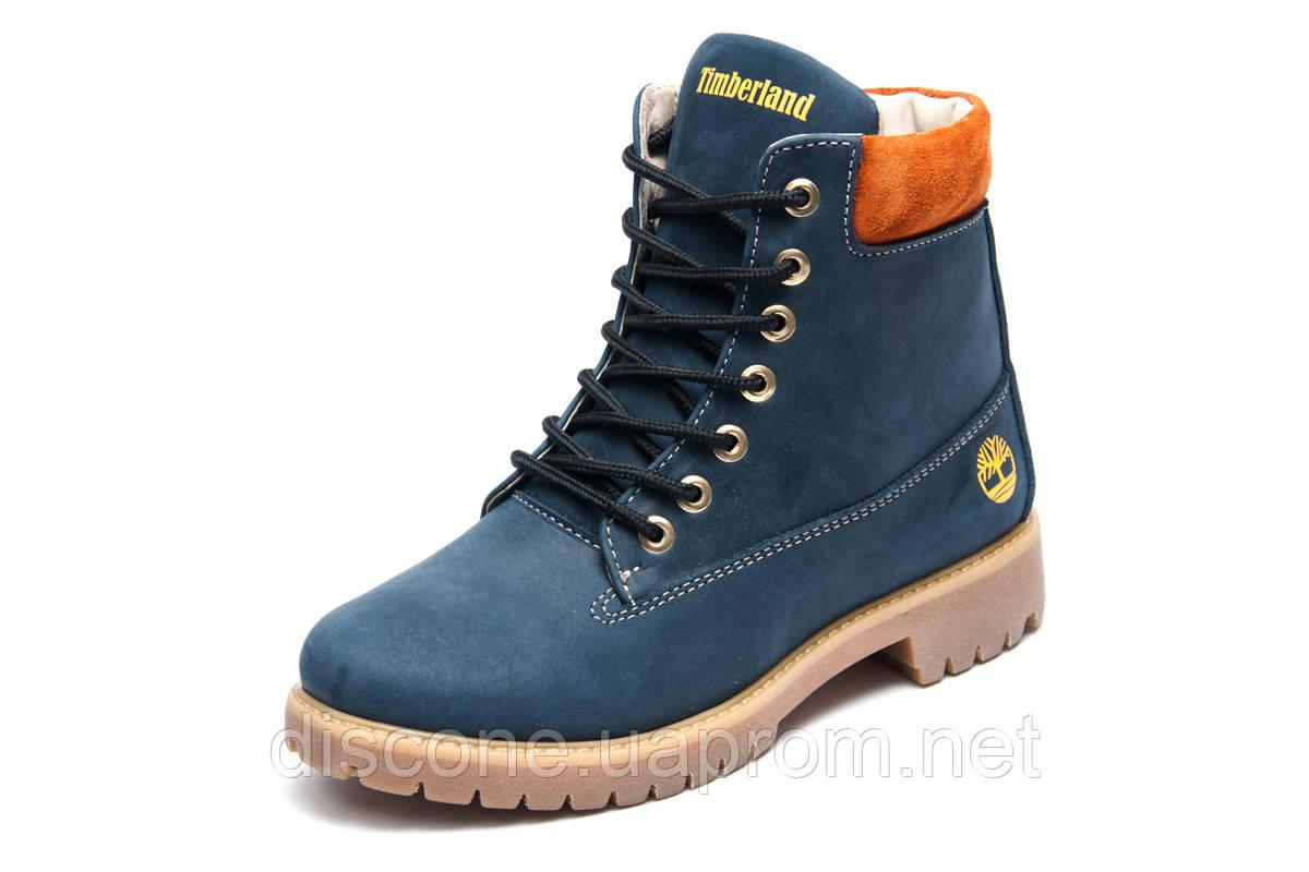 Зимние женские ботинки Timberland 6 inch, темно-синие, натуральная кожа, р. 36 37 38 39
