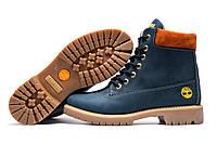 Зимние женские ботинки Timberland 6 inch, темно-синие, натуральная кожа, р. 36