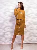 Костюм женский топ и юбка с молнией p.42-48 VM2076-7
