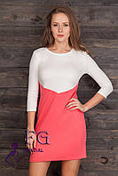 """Двухцветное платье """"Лаура"""". Распродажа модели коралл+молоко, 48"""
