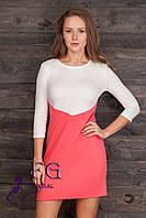 """Двухцветное платье """"Лаура"""". Распродажа модели коралл+молоко, 44"""