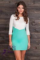 """Двухцветное платье """"Лаура"""". Распродажа модели мята+молоко, 44"""