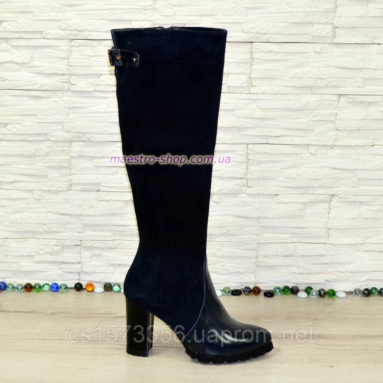 Сапоги женские зимние на высоком устойчивом каблуке, натуральная лаковая кожа и замш синего цвета.