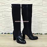 Сапоги женские зимние на высоком устойчивом каблуке, натуральная лаковая кожа и замш синего цвета., фото 2