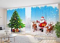 """Фото Шторы в зал """"Дед Мороз с оленями"""" 2,7*5,0м (2 полотна по 2,5м), тесьма, фото 1"""