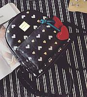 Рюкзак женский городской для девочек, девушек Вишенки (черный)