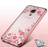 Силиконовый чехол с бампером под металлик с цветами Meizu M3