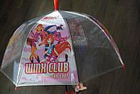Детский зонт трость, полуавтомат силикон прозрачный