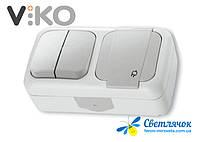 Выключатель двухклавишный наружный + розетка с заземлением VIKO PALMIYE белый/серый