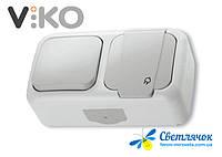 Выключатель одноклавишный наружный + розетка с заземлением VIKO PALMIYE белый/серый