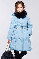 Зимнее стеганое полупальто приталенного фасона с пышной юбкой Мегги