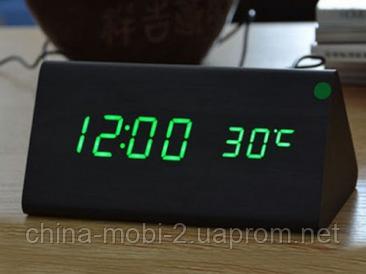 VST-861 Годинники настільні цифрові з будильником, датою і термометром, чорні з зеленим підсвічуванням