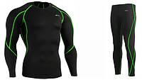 Компрессионный рашгард и штаны Emfraa, зеленый шов