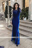 Элегантное велюровое вечернее платье со шлейфом