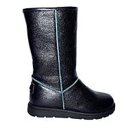 Угги женские UGG высокие натуральные кожаные внутри: мех шерстяной черные So0099