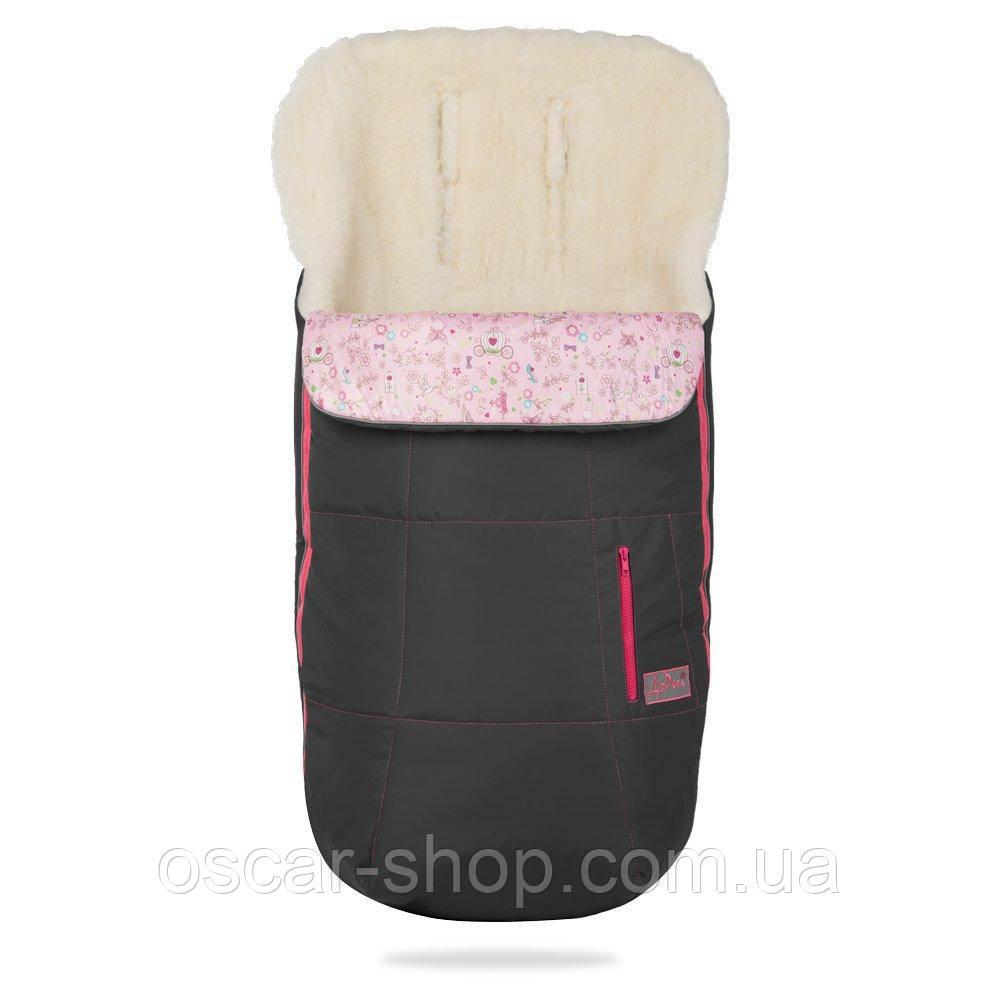 Зимний конверт на овчине. Серый с розовым декором
