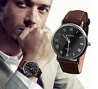 Мужские кварцевые часы с коричневым ремешком код 329