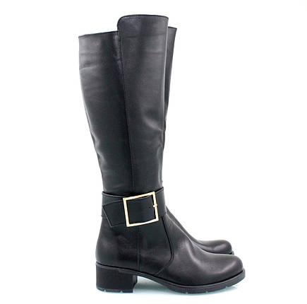 Кожаные сапоги черного цвета на низком каблуке оптом, фото 2