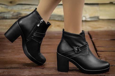 Ботинки на среднем каблуке из натуральной кожи оптом, фото 2