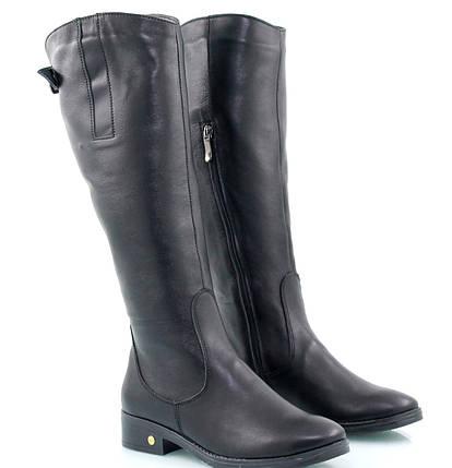 Женские чёрные сапоги на прямом ходу с небольшим каблукомоптом, фото 2