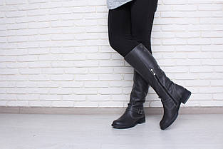 Серые кожаные сапоги на низком каблуке оптом , фото 2