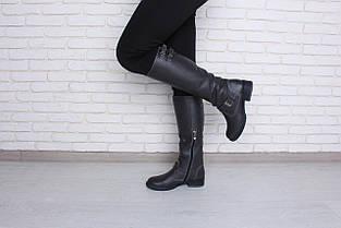 Серые кожаные сапоги на низком каблуке оптом , фото 3