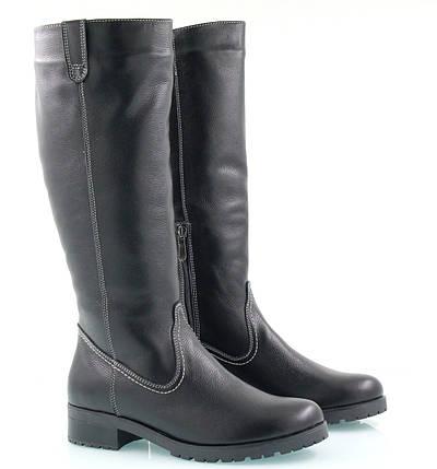 Женские кожаные сапоги на маленьком каблуке оптом, фото 2
