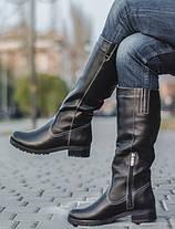 Женские кожаные сапоги на маленьком каблуке оптом, фото 3