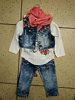 Детский красивый джинсовый костюм для девочки 74-86