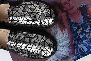 Блестящие женские слипоны из натуральной кожи оптом, фото 2