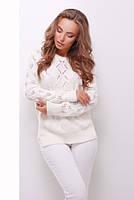 (S-L) Стильний молочно-білий в'язаний светр Aleksa